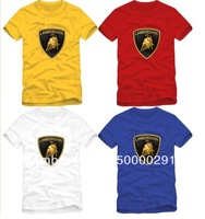Free shipping 2013 new sale brand car logo printed Lamborghini t-shirt sports tee tshirt 100% cotton short t shirt  6 color