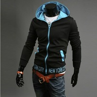 2013 Fashion New Men's Hoodies Sweatshirts ,Top Brand Sports Hoodies Clothing Men,Blue Zipper slim outwear man's hoodies M371