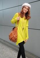 Women Round Neck Full Sleeve Big Pocket Decor Asymmetrical Hem Loose Tops Solid Thin Sweater Free Shipping S236B-344