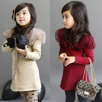 Free Shipping 2013 autumn gilr child all-match gauze princess one-piece dress baby clothing long-sleeve outerwear