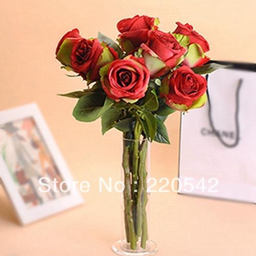 6pcs / lote de seda vermelho Artificial rose Artificial flor de seda Decorações do casamento HQ71(China (Mainland))