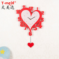Red love wedding decoration digital clock creative wall clock with a second hand big numbers without creative personality