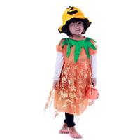Free shipping Halloween clothes child masquerade child clothes pumpkin hat one-piece dress pumpkin bucket