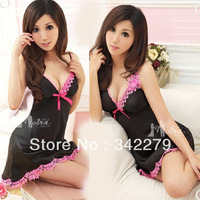 Black powder sweet suspender skirt thong set sleepwear nightgown miniskirt women's translucent lingerie