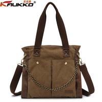 Autumn casual women's canvas bag handbag vintage chain women's shoulder bag large bag