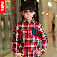 Clothing children's clothing 2013 autumn male child long-sleeve shirt casual turn-down collar plaid shirt fashion