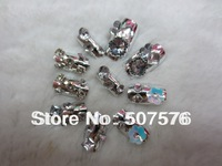New  Arrival !!   24pcs/set  Metal  Gradient  Color  Nails Art  Tips  With Flower  Ornament  Free shipping
