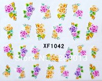 Cosmetic Cheap Fashion Beauty Flower Nail Art Stickers Decals Watermark Mix Designs 20sheets/lot Free Shipping XF1042