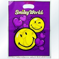 AD170 free shipping 30*40cm cute purple plastic bag with handle for gift/shoes/jewelry 300PCS/LOT Smile bag