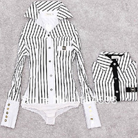 striped long sleeve fashion career business OL tops new style body shirt free shipping ladies' blouse slim bodysuit shirt LTY10