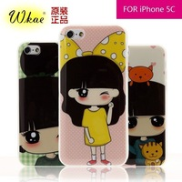 High Quality Brand New Gel TPU Back Cover Lovely Cute Girl Cartoon Case for iPhone 5C Soft Case Wholesale Free Shipping