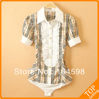 Short sleeve plaid Pleat button career business OL tops summer body shirt ruffles XXL ladies' blouse slim bodysuit shirt QLT34