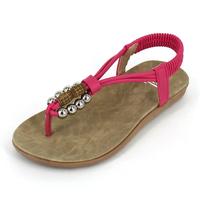 Beaded beach sandals women's shoes flat heel female shoes