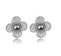 Free Shipping Black Pearl Earring Freshwater Pearl Stud Earring Austria Crystal Base