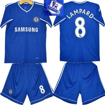 13-14 Chelsea home blue football club jerseys #8 LAMPARD player's designer uniform embroidery brand logo kits for men sportswear