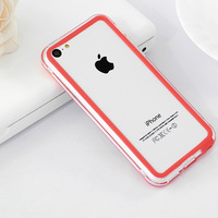 TOP Quality For New iphone 5C Frame Case TPU Material Soft Case Colorful Cute Two tone Free shipping