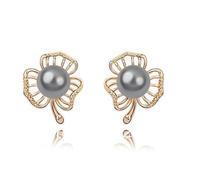 Free Shipping Black Pearl Stud Earring Freshwater Pearl Earring Austria Crystal Base