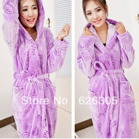 FreeShipping!Fashion Winter Flannel robe women bathrobes warm nightgown with hood thickening plus size home casual sleepwear