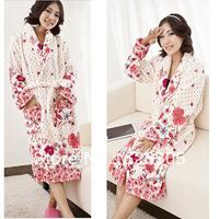 FreeShipping!Fashion Winter Flannel robe women bathrobes warm  nightgown thickening plus size home casual sleepwear