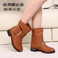 Daphne single boots genuine leather martin boots shoes women's spring and autumn boots flat heel boots fashion