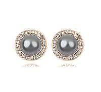Free Shipping Luxury Black Pearl Stud Earring Freshwater Pearl Earring Austria Crystal Base