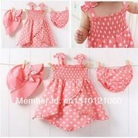 TOP seller children's dot skirt + briefs + hat tutu baby girl's dress skirt suit kids wear kids clothing free shipping