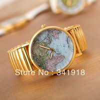 2013 New Fashion Women Watch Map Print Watches Watches and Leather Alloy Neutral Vintage Watches