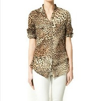 One 2 one OL commuter female leopard chiffon shirt chiffon shirt sleeve shirt leopard shirt New!Free shipping!
