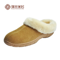 Home shoes autumn and winter cotton-padded shoes slip-resistant genuine leather slippers thickening cowhide warm indoor shoes