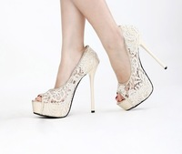 Wedding Bridal Shoes Sweetness Lace 14cm High Heel Shoes Peep Toe Net Pumps Gown prom Shoes
