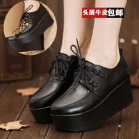 2013 fashion high-heeled genuine leather low-top platform shoes