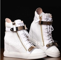 Free shipping Women's shoes gz white crocodile pattern genuine leather elevator shoes high-top casual sports shoes sneakers lady