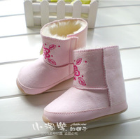 Winter thickening baby total plus velvet snow boots pink insolubility snow boots baby shoes 2013