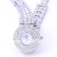 Free Shipping,2013 New Design  Silver Lady  Luxury Bracelet Quartz Wristwatch,Rhinestone Crystal Party Dress Watch