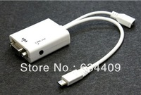 2013 New Arrival Hot Sale New Micro USB To VGA Audio MHL Adapter For Samsung Galaxy S4 SIV i9500 White Free shipping&wholesale