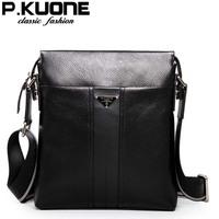 NEW P . kuone male shoulder bag casual genuine leather man bag single shoulder bag leather bag shoulder bag male 5001