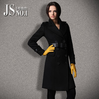 Fashion winter 2013 cashmere overcoat color block decoration double breasted woolen outerwear long design