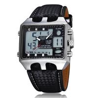 OHSEN Sports Genuine Leather Analog-Digital Men Quartz Watch dual display multi-funtional Date Day Alarm waterproof watch
