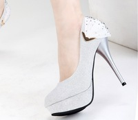 Wedding Bridal Shoes 2013 Autumn Newest Single Pump Nubuck Leather Glitter Party Prom Office Lady Fashion High Heel Dress Shoe