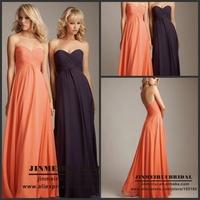 2014 Elegant Sweetheart Chiffon Sleeveless Floor-Length Ruched Bridesmaid Dresses