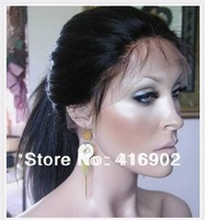 glueless lace front cap  yaki straight ponytail with baby hair lace wig 100% Indian Remy Human hair glueless Lace Front Wigs