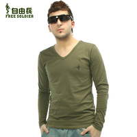 Men's sports outdoor shirt male long-sleeve T-shirt V-neck basic shirt men's  cotton T-shirt