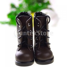 Free Shipping 1/6 BJD Boots Lace Up Back Zip Shoes Fit Yo-SD DOD LUTS - Brown(China (Mainland))
