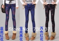 New 2013 Winter Warm women painted jeans for women fleece pants[3 styles to choose] high quality Top brand L929