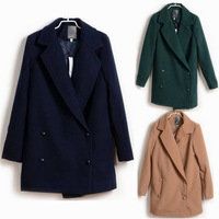 2013 autumn and winter thick thermal double breasted medium-long woolen women's trench overcoat fashion outerwear
