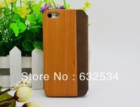 Free Shipping Leather Case with Cherry Wooden for iPhone 5 5g  Retro Business Style