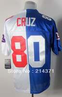 High Quality 80 Victor Cruz Men's Authentic White/Blue Football Elite Split Jersey size: 40-56