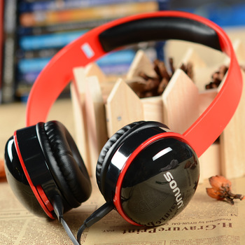 SONUN SN-T2 Stylish Headphone Headset w/ Microphone for PC - Red + Black *5p