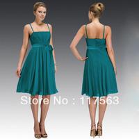 Cheap a line spaghetti strap pleats chiffon knee length teal bridesmaid dress brides maid dress BD057