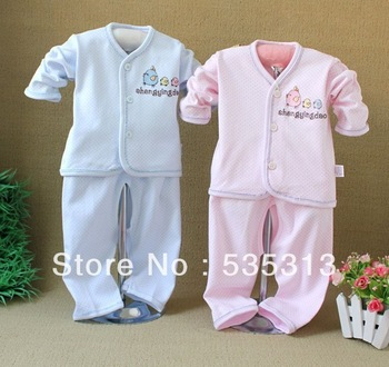 all $15 free shipping newborn baby sleeping dot suit  baby cute  homewear baby full cotton sleeping sets baby rompers 2 colours